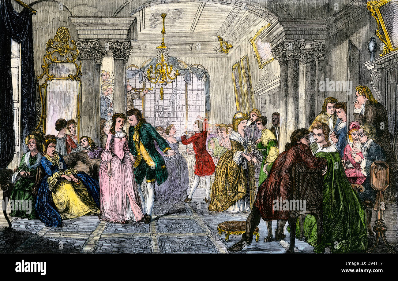 Social event in a ballroom in the 18th century. Hand-colored woodcut - Stock Image