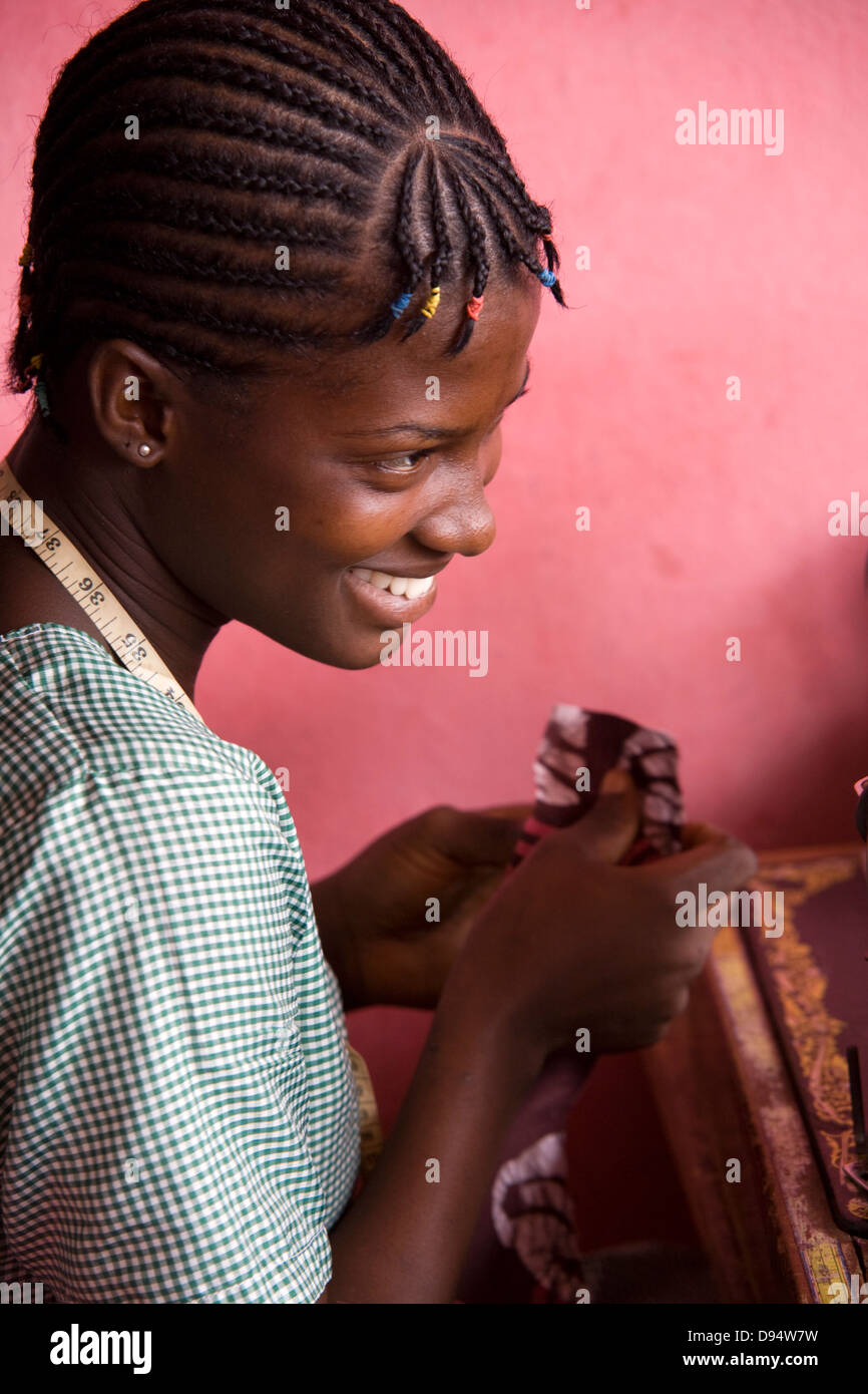Cape Coast, Ghana - production of product from Batik - Stock Image