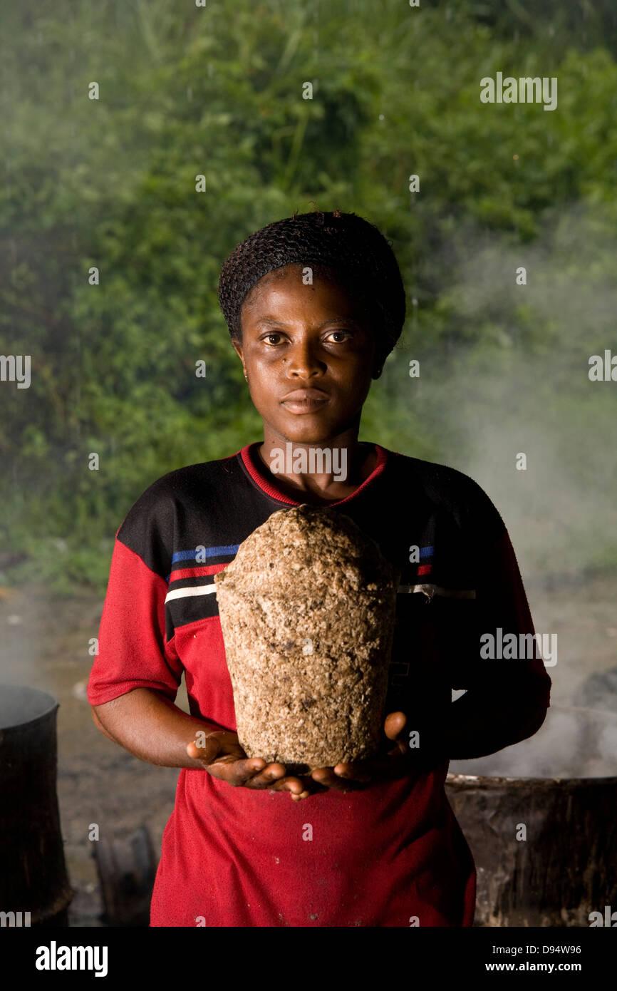 Cape Coast, Ghana - making Fairtrade soap - Stock Image