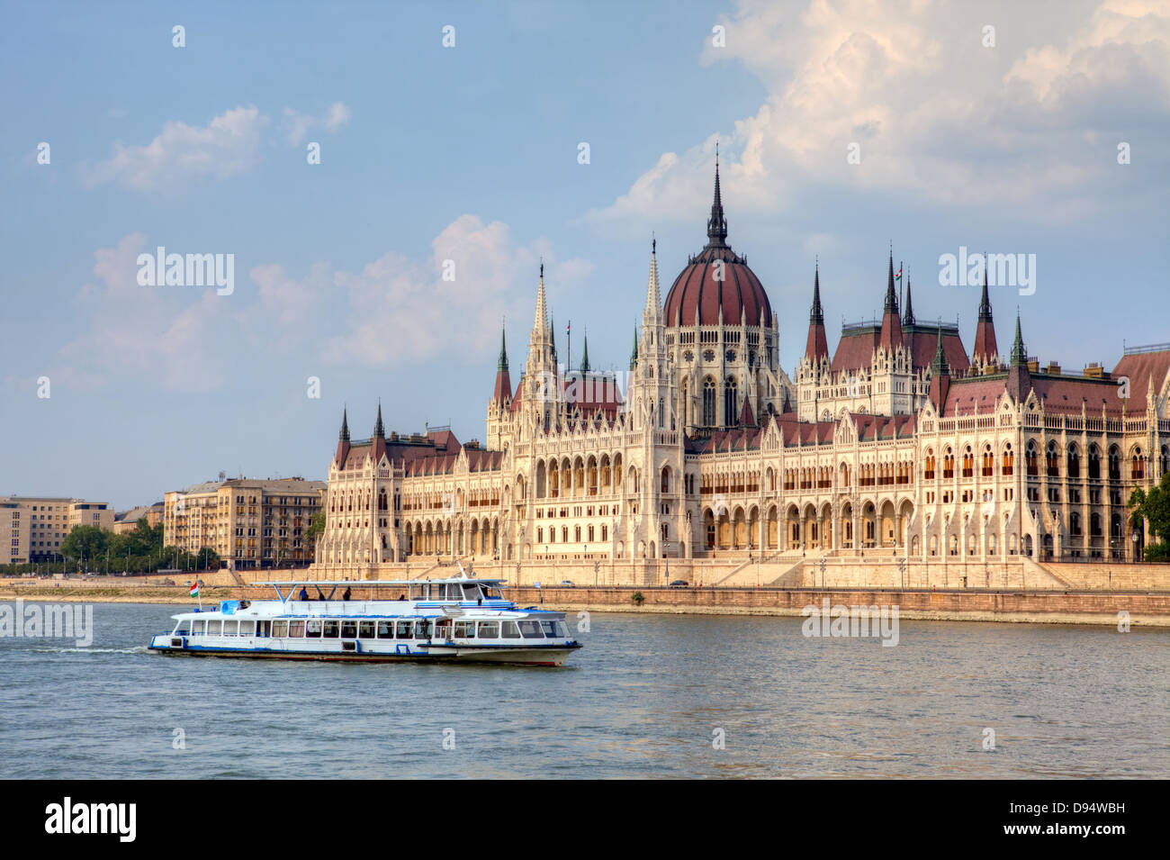 Hungary's Parliament is the largest building in the country and a symbol of Budapest. - Stock Image