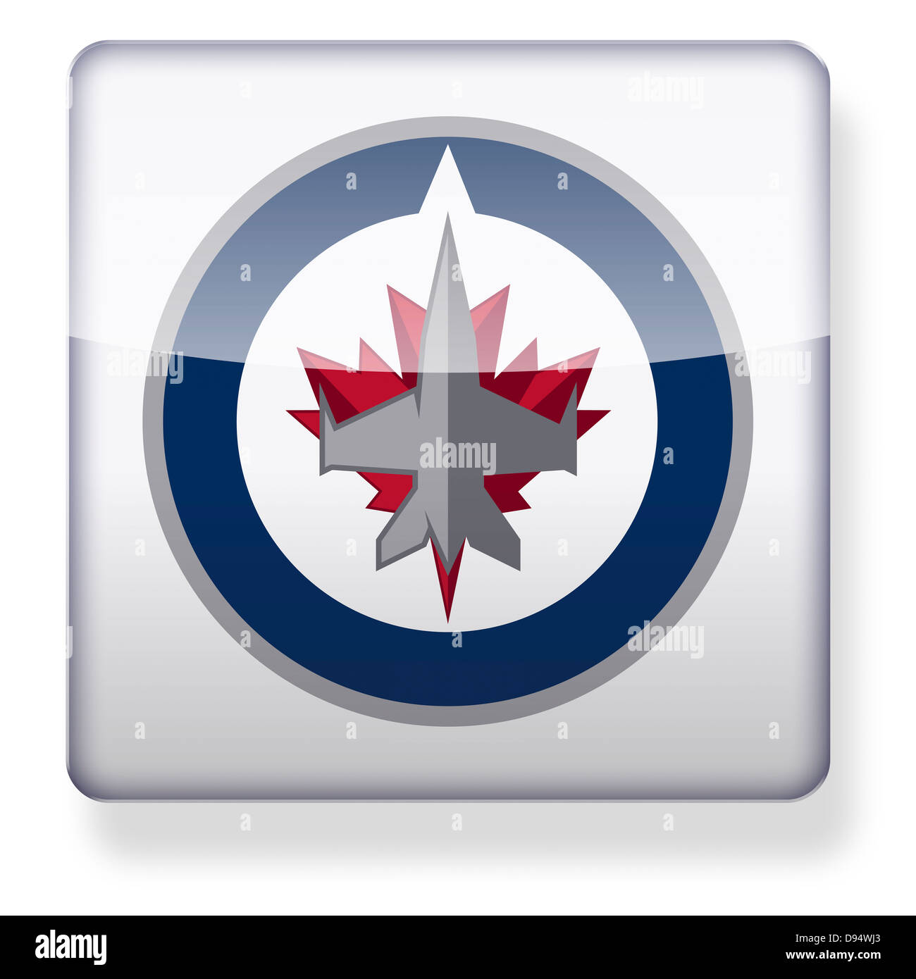 Winnipeg Jets hockey team logo as an app icon. Clipping path included. - Stock Image