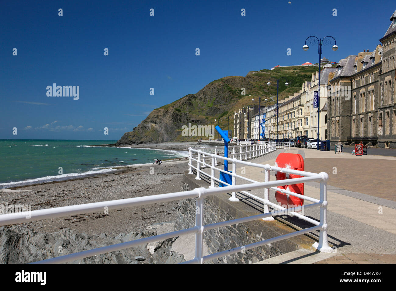The seafront promenade and Constitution Hill at Aberystwyth on the west coast of Wales - Stock Image