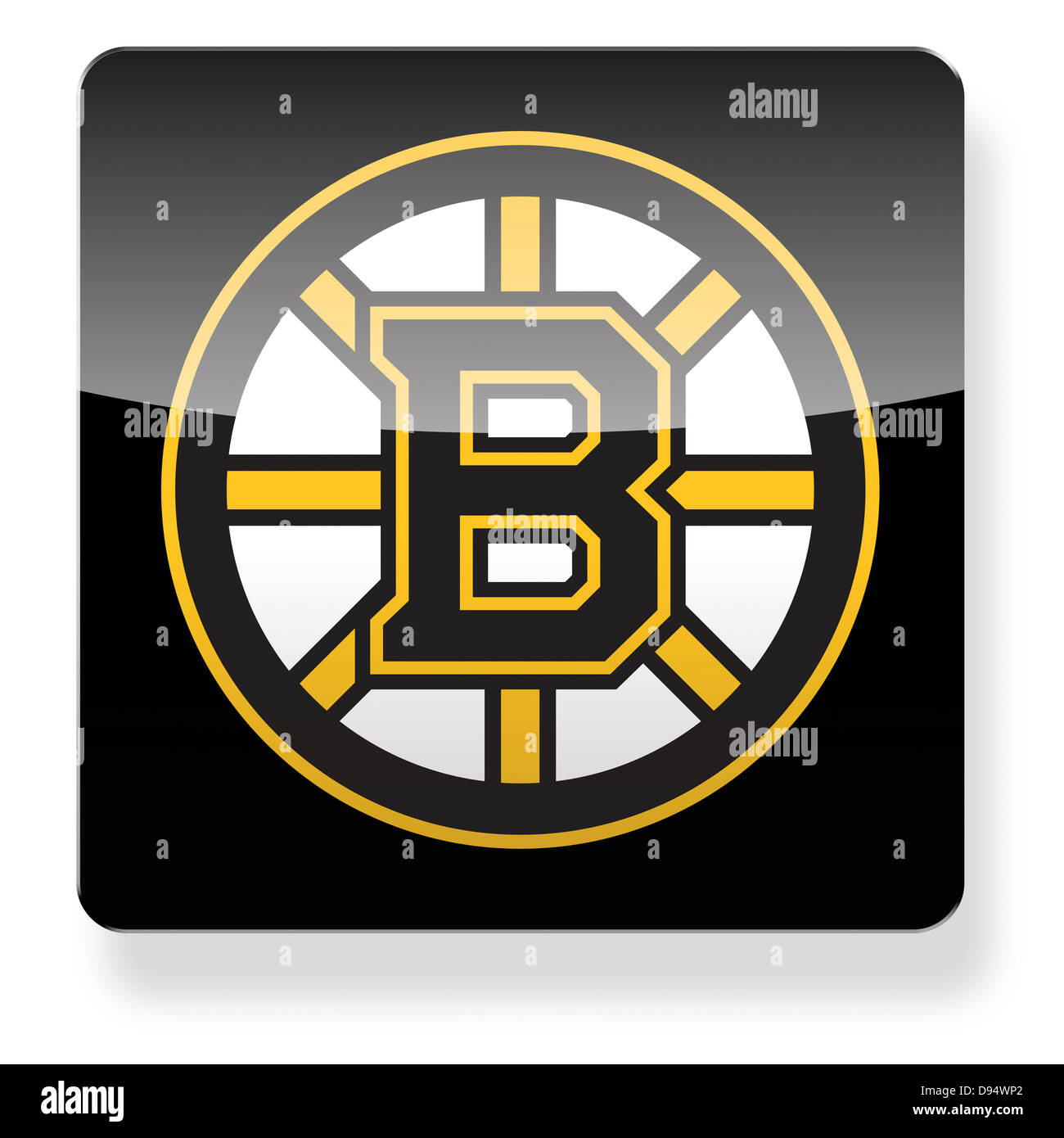 34e9a1ab17f Boston Bruins hockey team logo as an app icon. Clipping path Stock ...