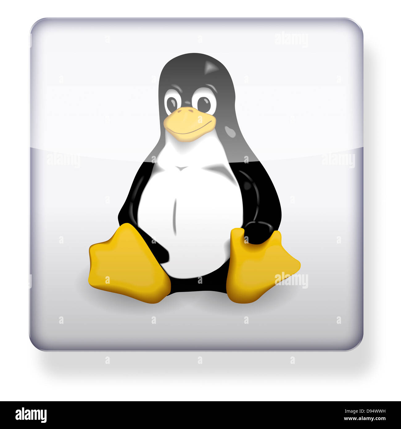 Linux logo as an app icon. Clipping path included. - Stock Image