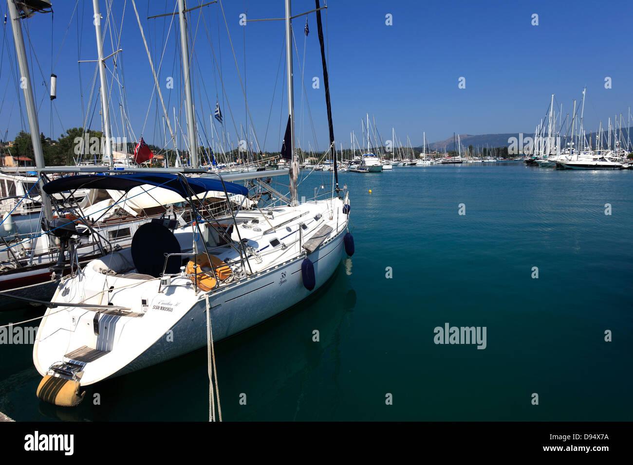 View of Sailing boats, Gouvia Marina, Gouvia resort, Corfu Island, Greece, Europe - Stock Image