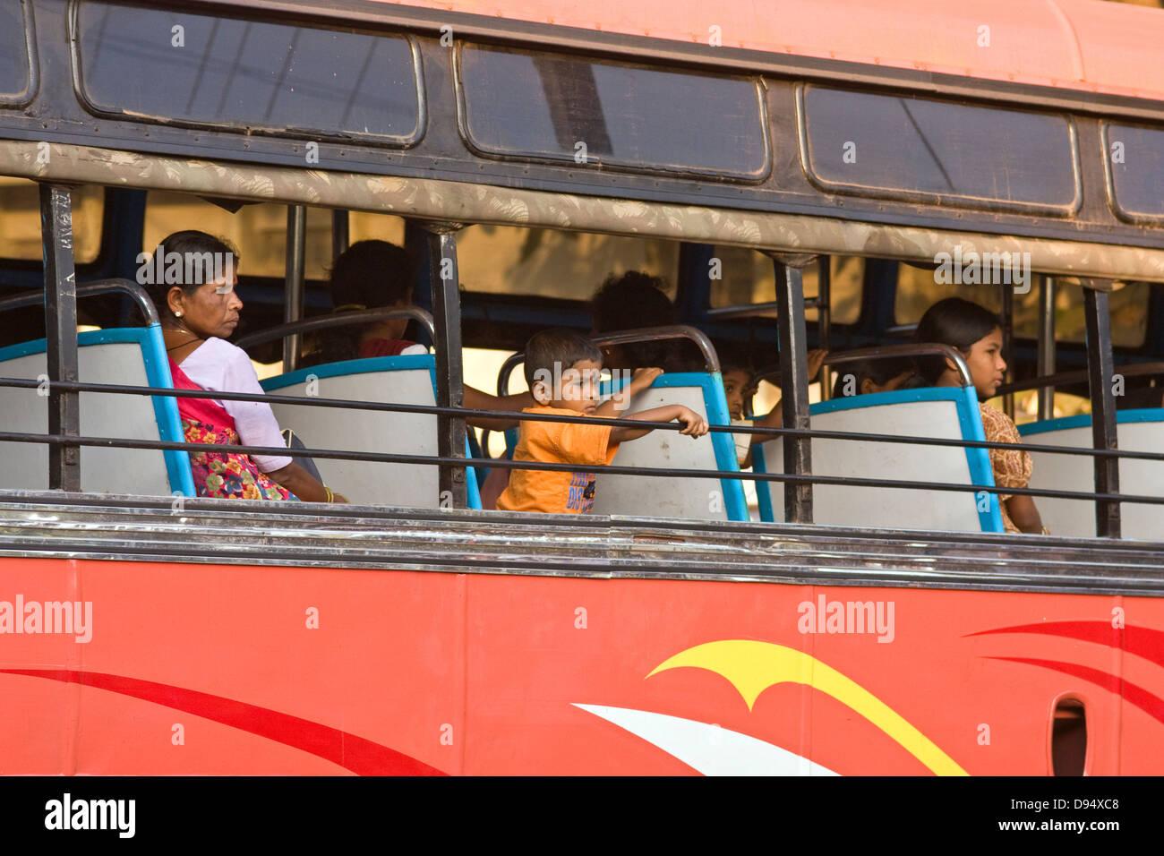 Asia, India, Karnataka, Udipi, people in a bus - Stock Image