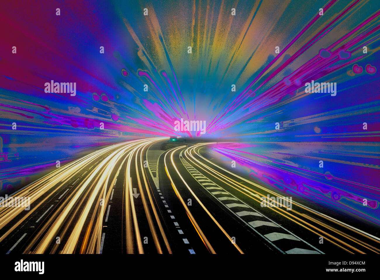Montage of two night photographs of traffic light trails. - Stock Image