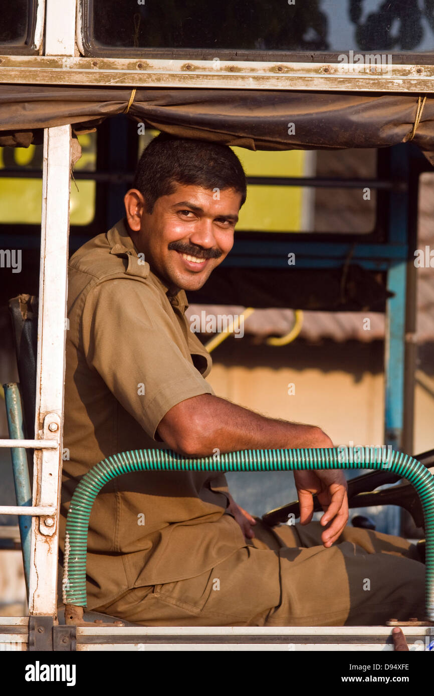 Asia, India, Karnataka, Udipi, bus driver - Stock Image