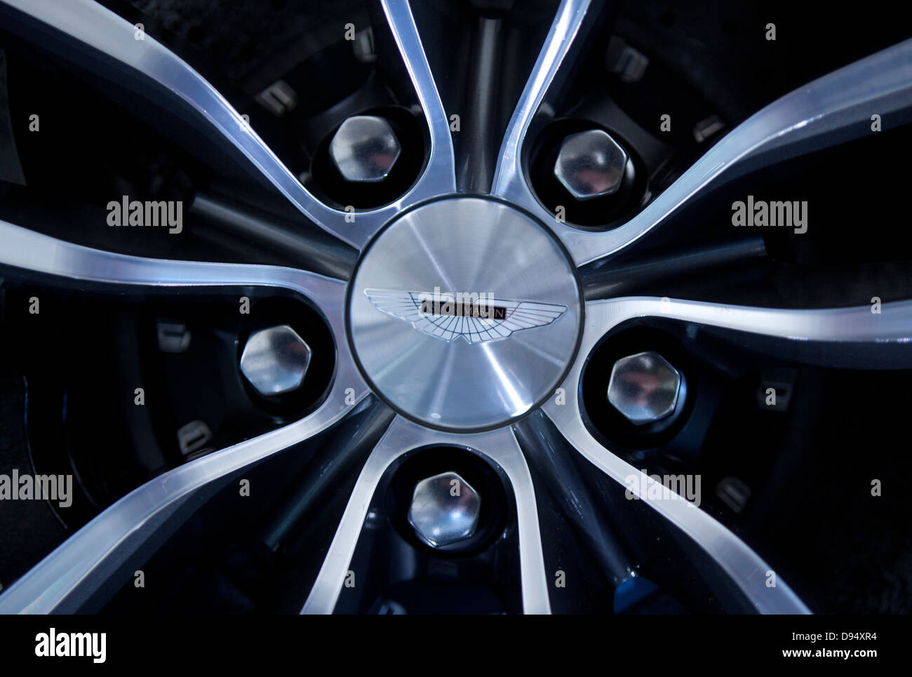 Aston Martin wheel hub - Stock Image