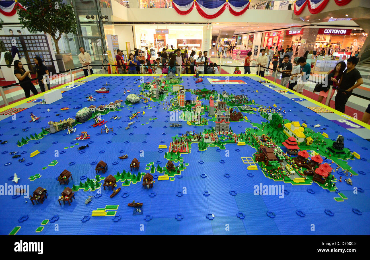 Davao city philippines 11th june 2013 philippine map and davao city philippines 11th june 2013 philippine map and landmarks made of 50000 pieces of lego is exhibited in a mall in davao city gumiabroncs Image collections