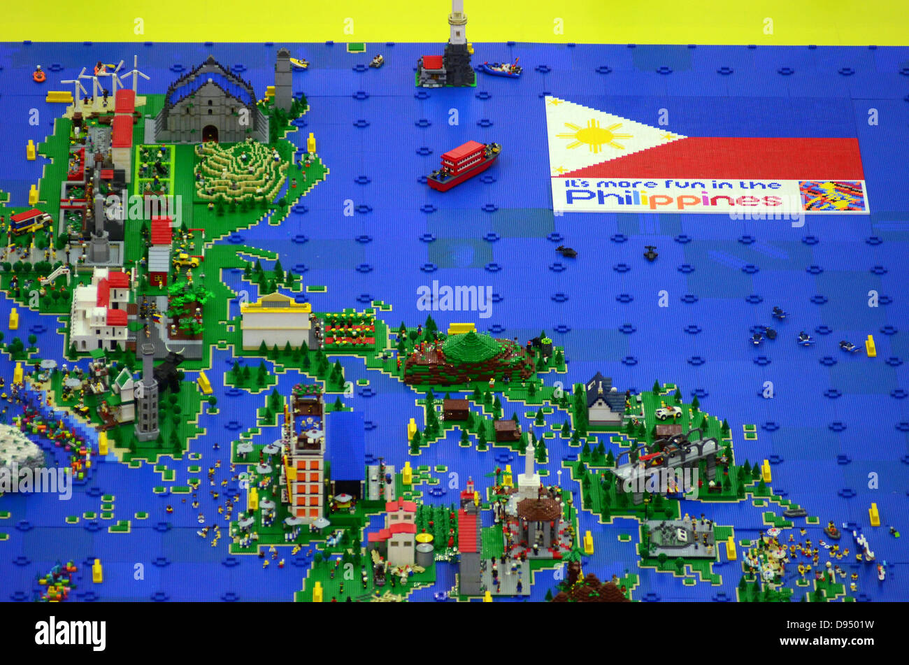 Davao city philippines 11th june 2013 philippine map and philippine map and landmarks made of 50000 pieces of lego is exhibited in a mall in davao city southern philippines 11 june 2013 gumiabroncs Choice Image