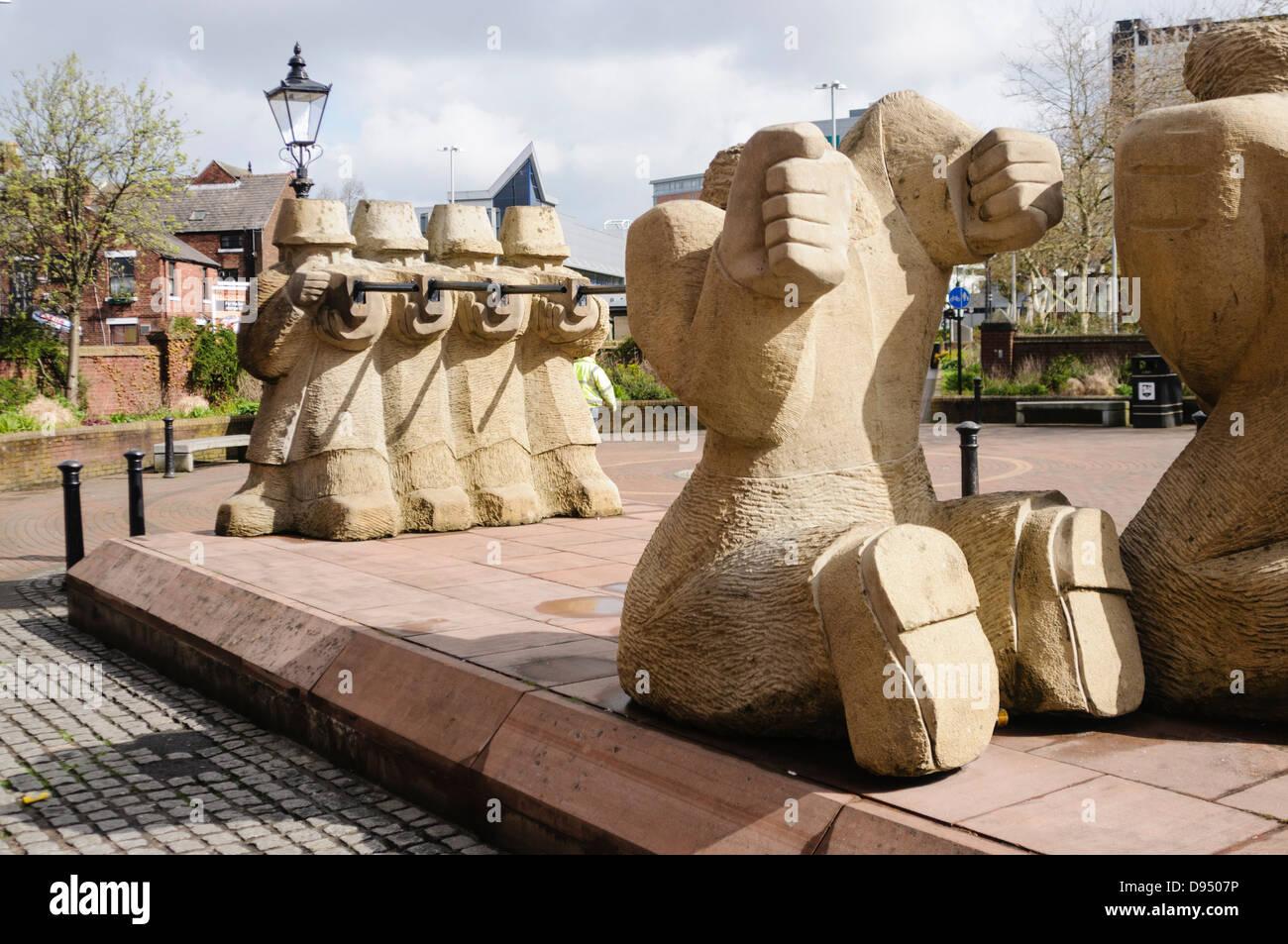 Statue by Gordon Young commemorating the 1842 Preston Riots, Lunn St, Preston. Stock Photo