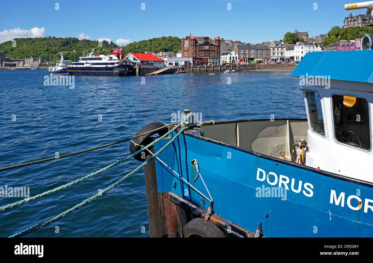 Passenger vessel Lord of the Glens is moored at the North Pier in Oban Harbour Oban Western Scotland - Stock Image