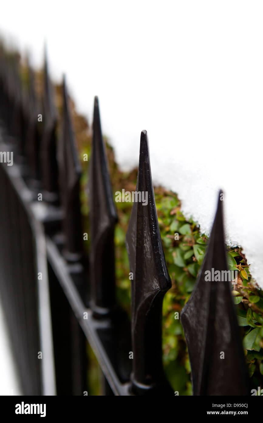 black cast iron railings - Stock Image
