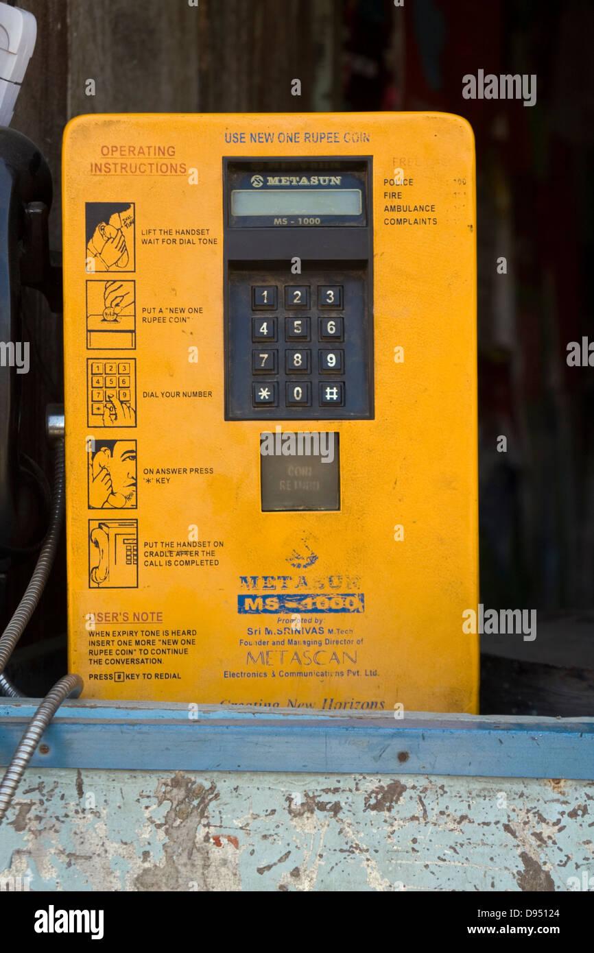 Asia, India, Karnataka, Belur, public telephone - Stock Image
