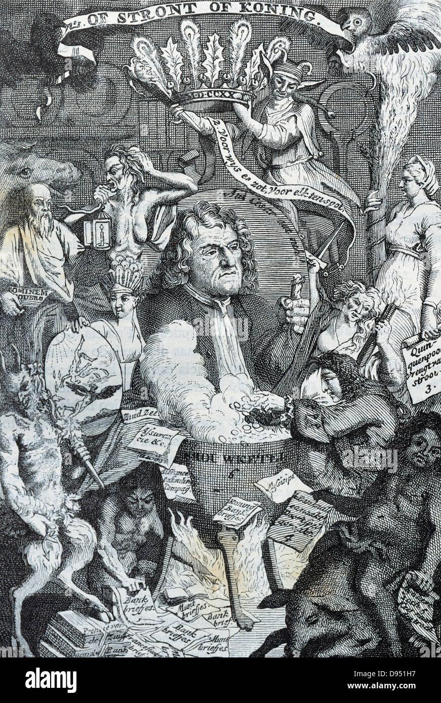 John Law (1671–1729). Scottish economist. Dutch satirical engraving. - Stock Image