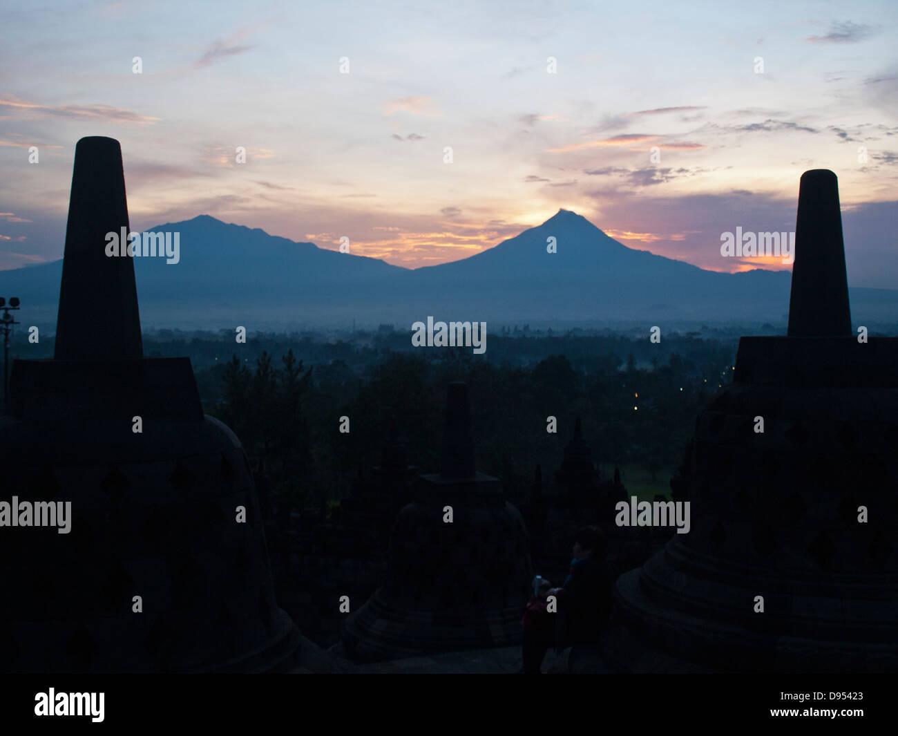 Sunrise at Borobudur temple - Stock Image
