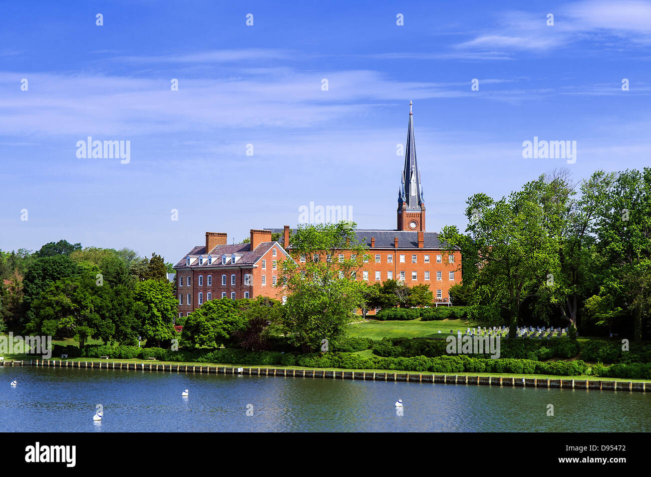 Historic Charles Carroll House and St Mary's Church, Annapolis, Maryland, USA - Stock Image