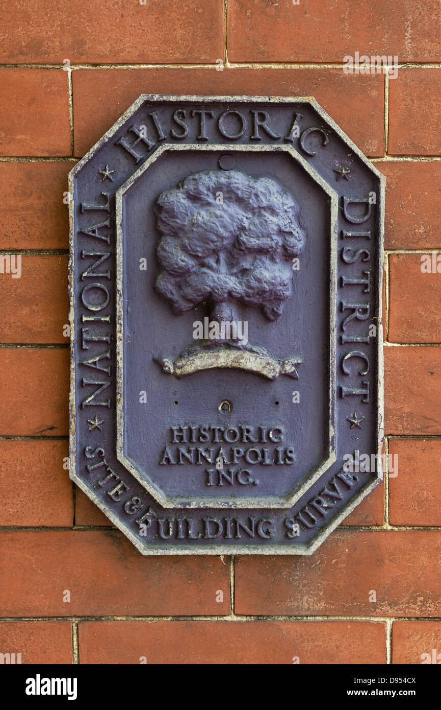 Historic house designation plaque, Annapolis, Maryland, USA - Stock Image