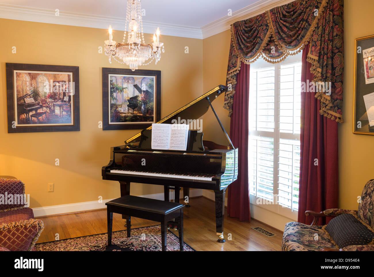 luxury home interior room with grand piano stock photo 57276300 alamy