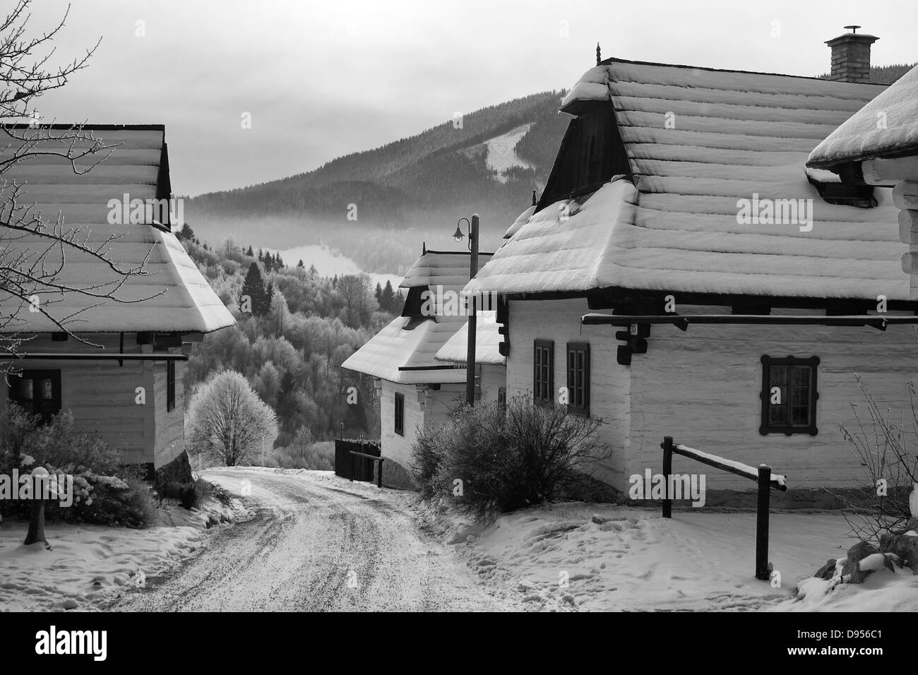 Cottages in open-air museum - Stock Image
