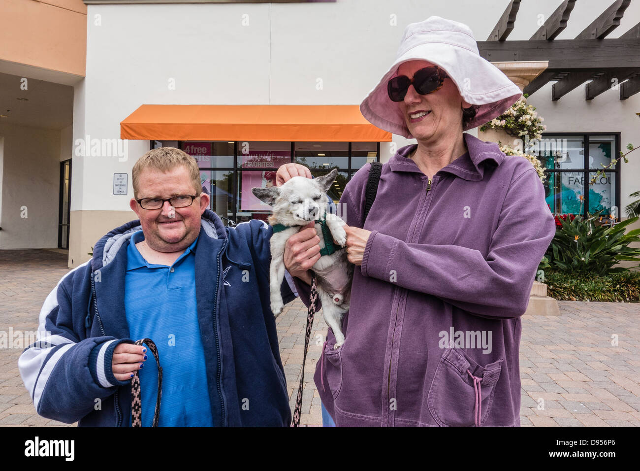 An older adult mother and her mentally disabled older son pause while she holds their pet Chihuahua dog and he pets - Stock Image