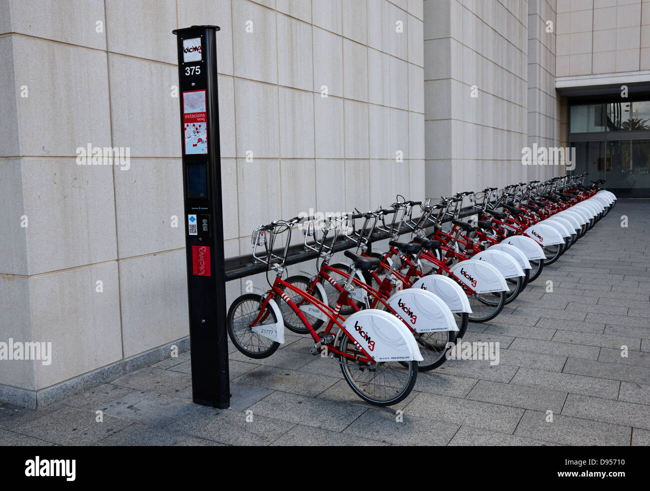 bicing bicycle sharing system in barcelona catalonia spain - Stock Image