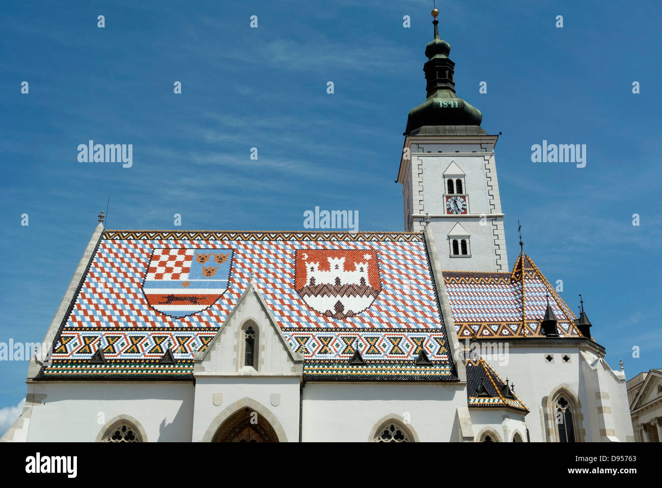 Traditional Croatian coat of arms on roof St. Marko church, Upper Town, Zagreb, Croatia - Stock Image