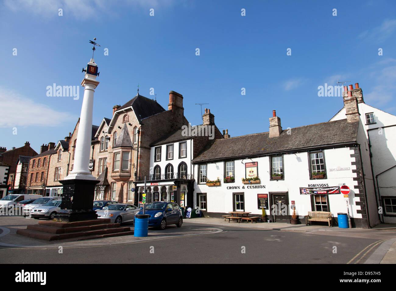 The Market Cross, Boroughgate, Appleby-in-Westmorland, Cumbria, England, U.K. - Stock Image