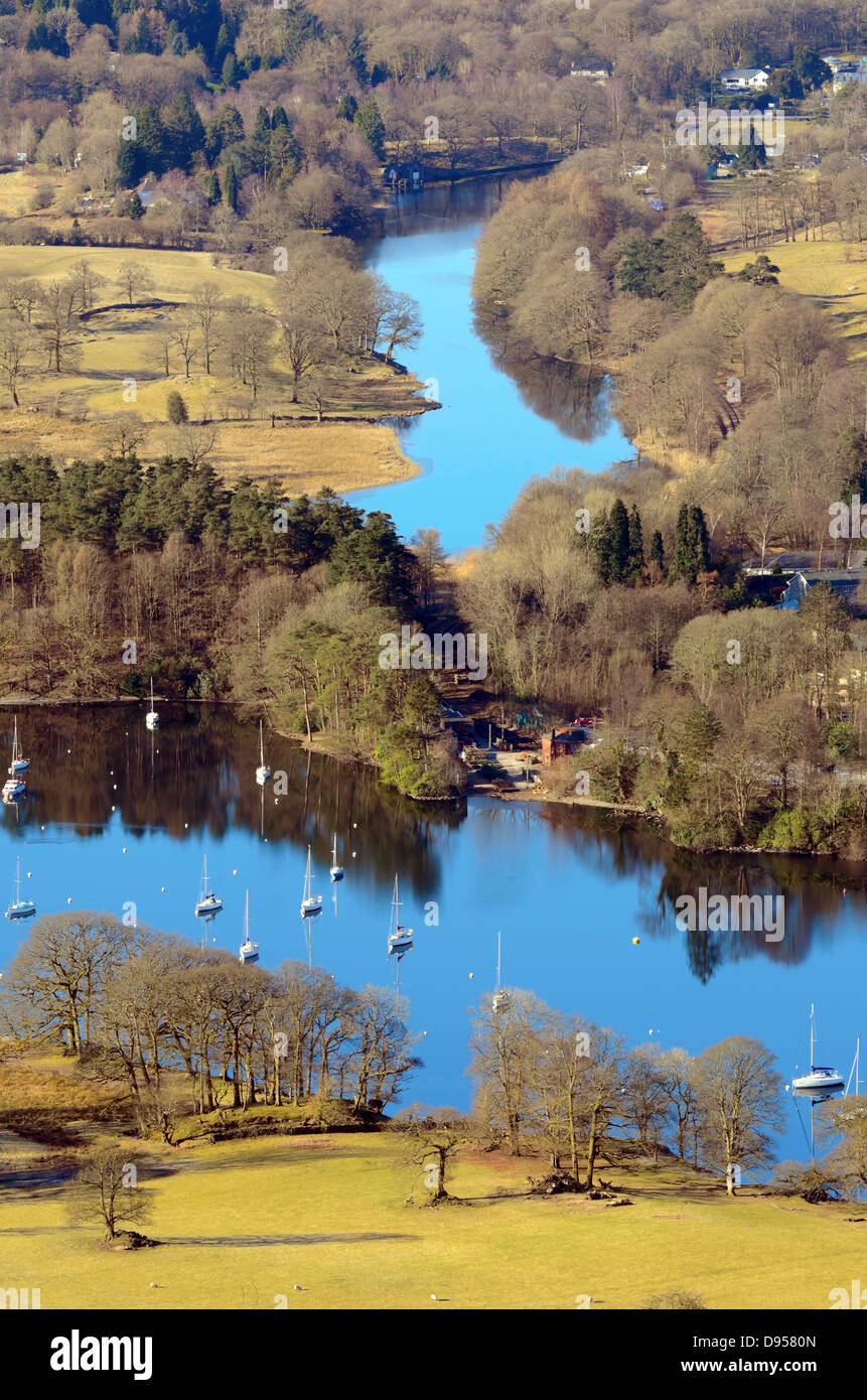 View of Lake Windermere from Gummers How in Lake District National Park Cumbria England - Stock Image