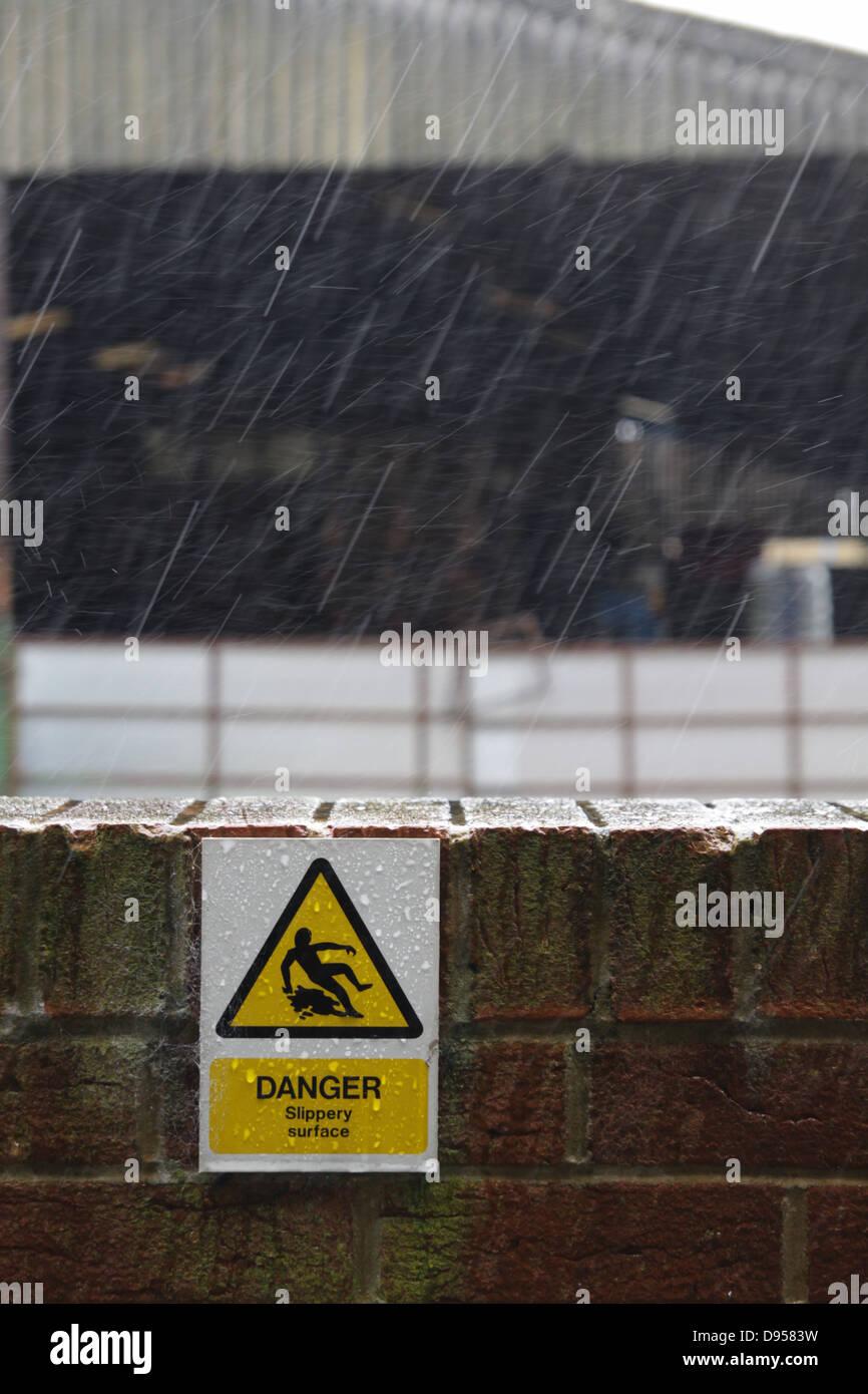 Danger! Slippery surface - Stock Image
