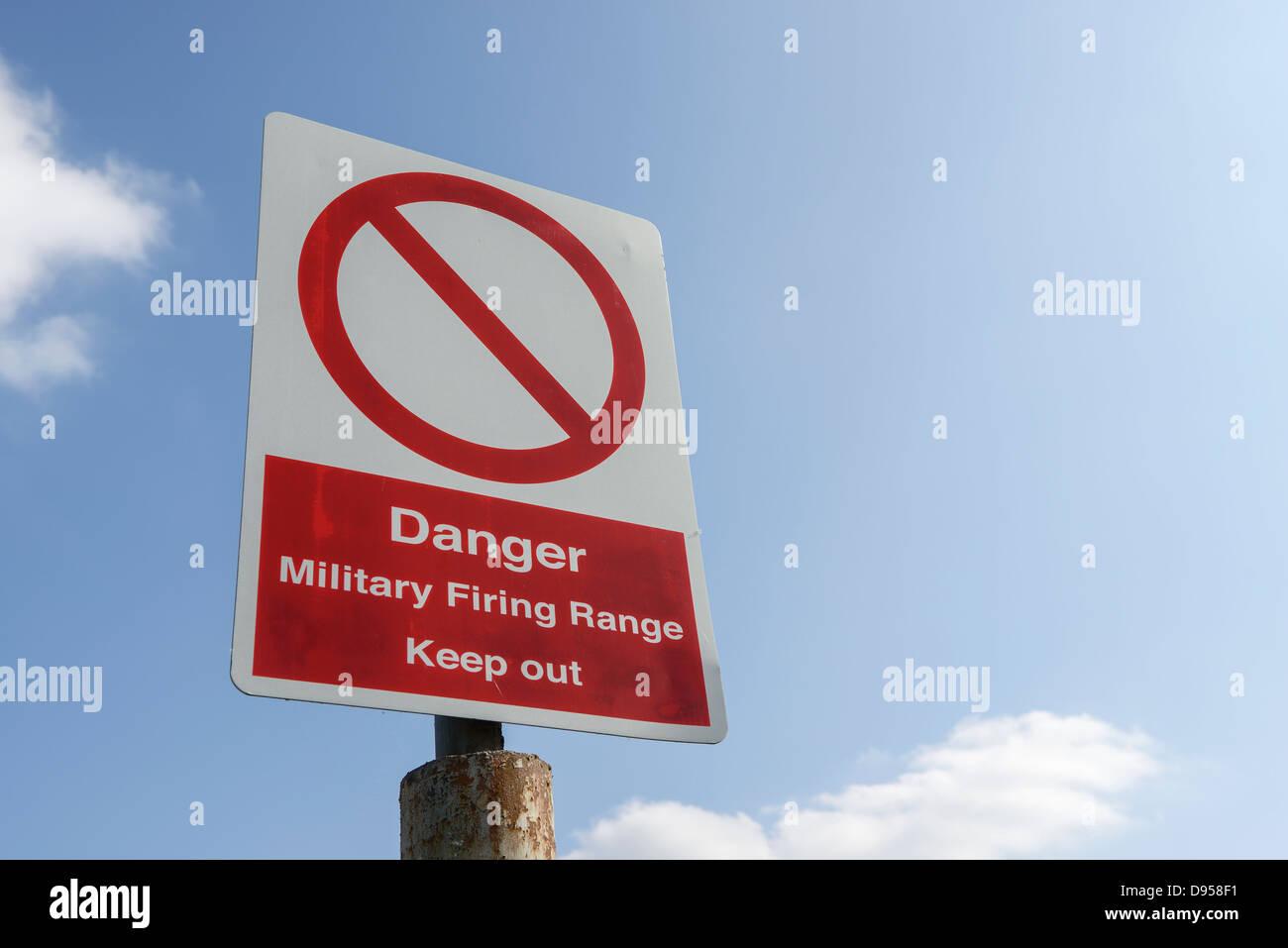 Military Firing Range warning sign - Stock Image