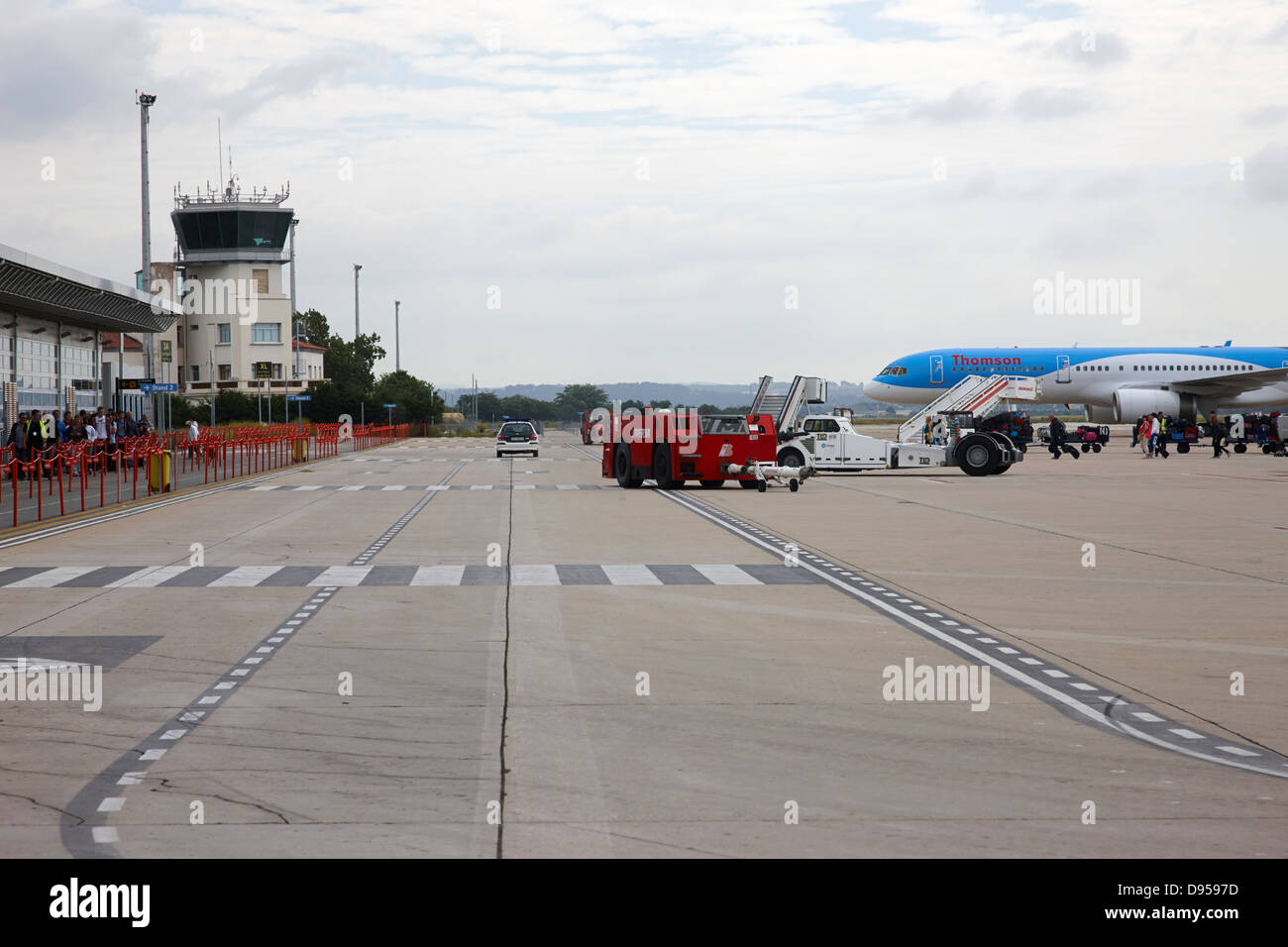 aircraft waiting on stands at reus airport catalonia spain - Stock Image