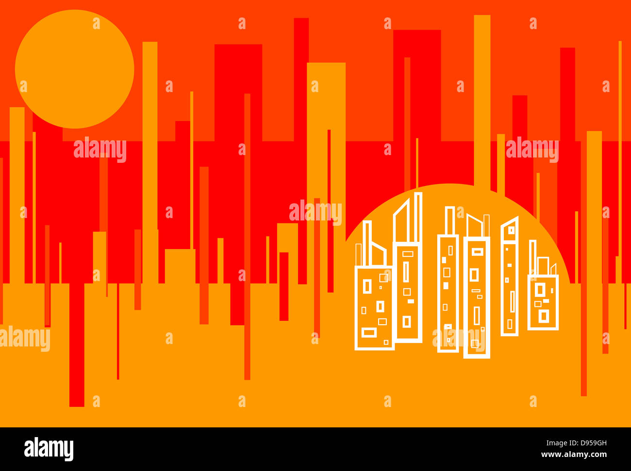 Red Hot City - Stock Image