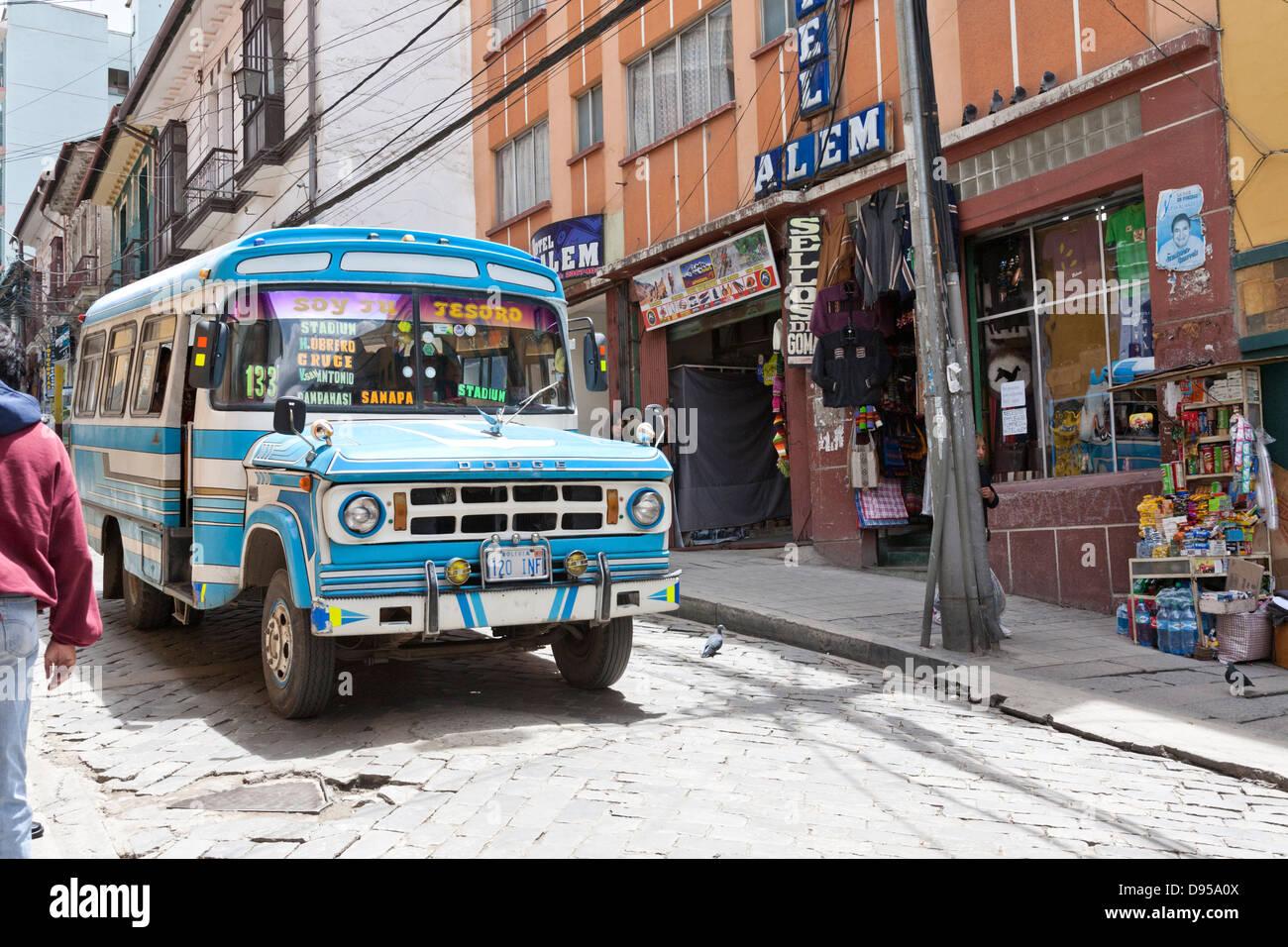 Bus, Public Transportation, La Paz, Bolivia - Stock Image