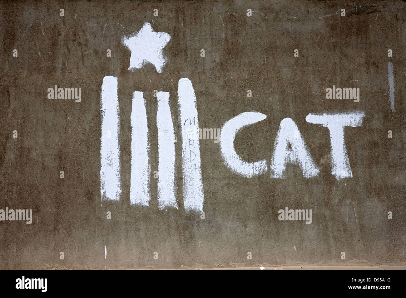 catalonian independence grafitti on a wall in baga catalonia spain - Stock Image