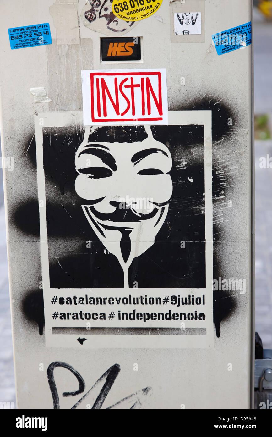catalonian independence grafitti in barcelona catalonia spain - Stock Image