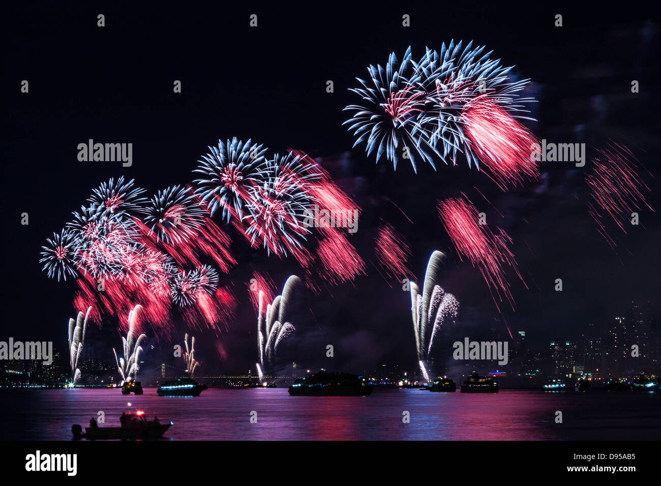 Macy's 4th of July Fireworks on Hudson River Stock Photo