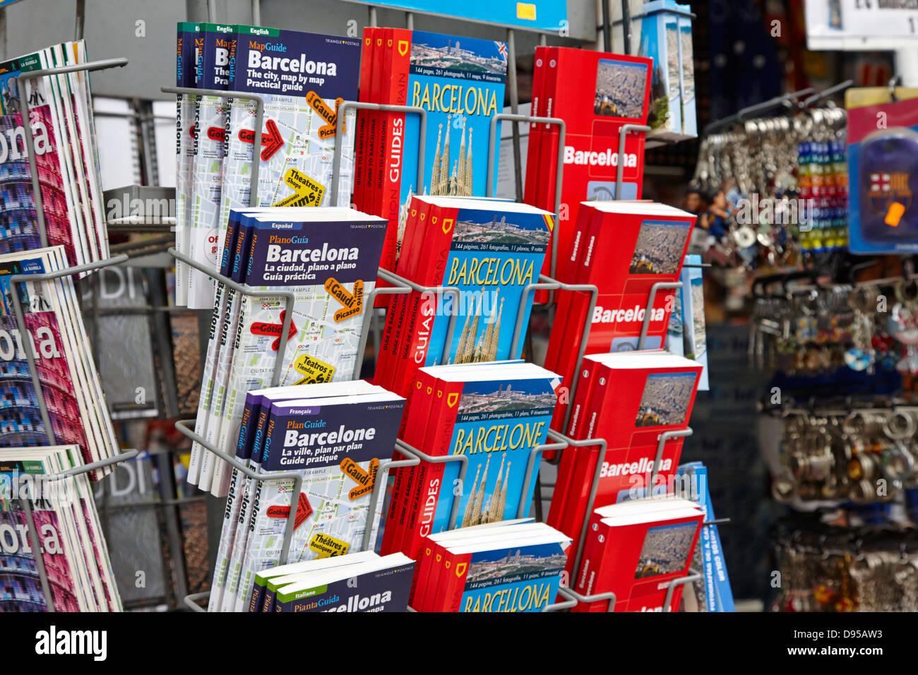 barcelona guidebooks in english italian german and russian catalonia spain - Stock Image