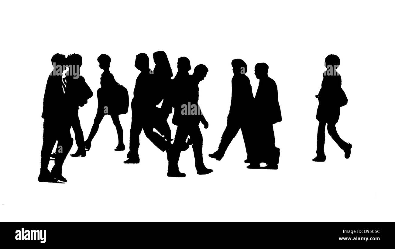 A silhouette city scape, B&W image of people crossing the street - Stock Image