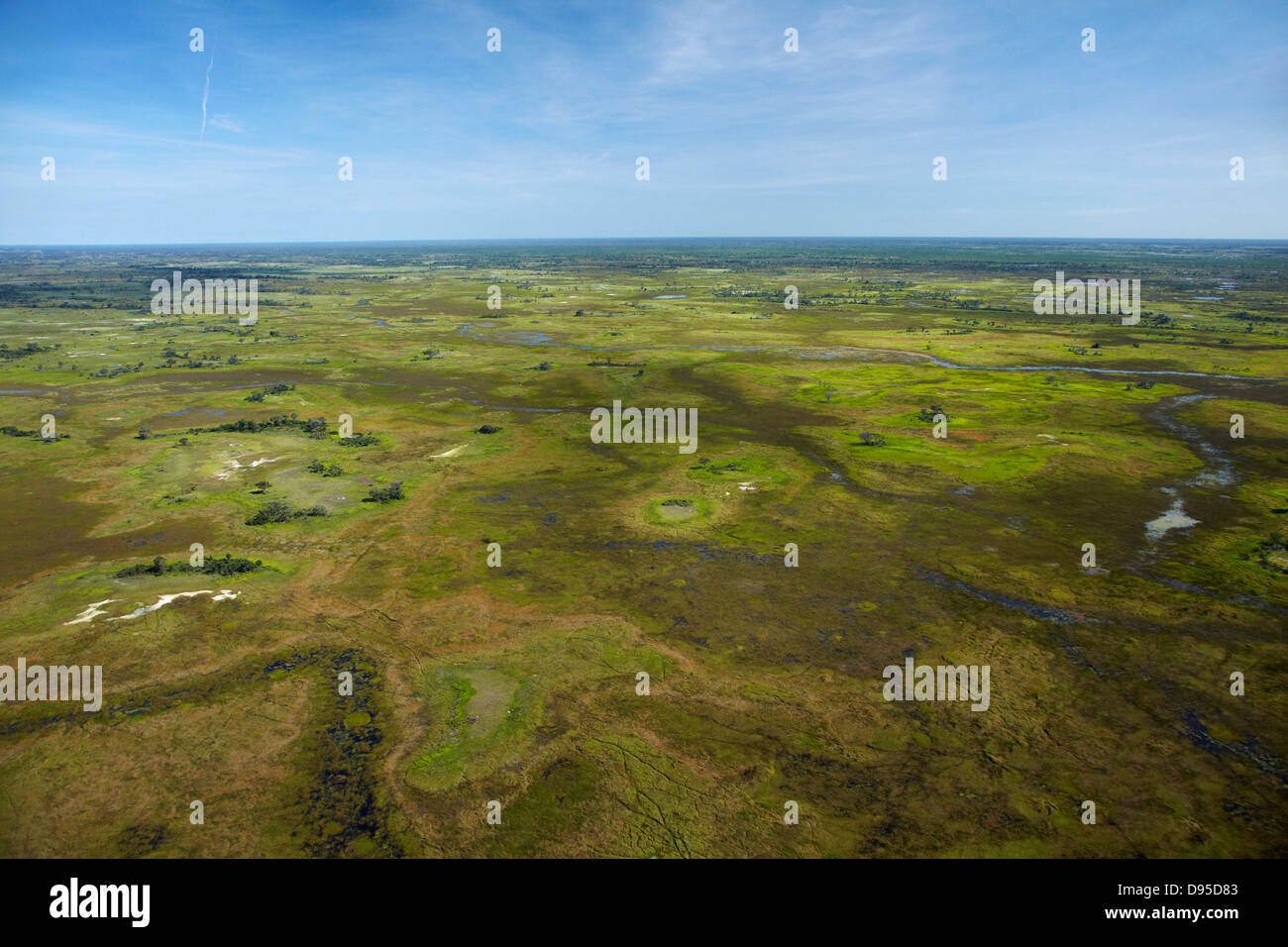 Okavango Delta, Botswana, Africa- aerial - Stock Image
