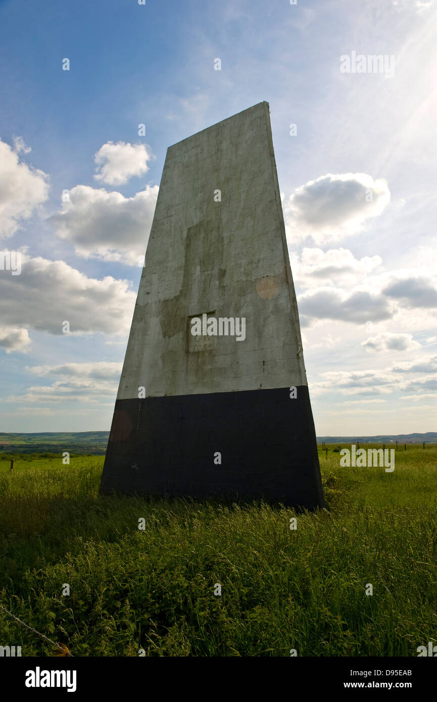 A Sea Mark used for maritime navigation on Ashey Down on the Isle of Wight, UK Stock Photo