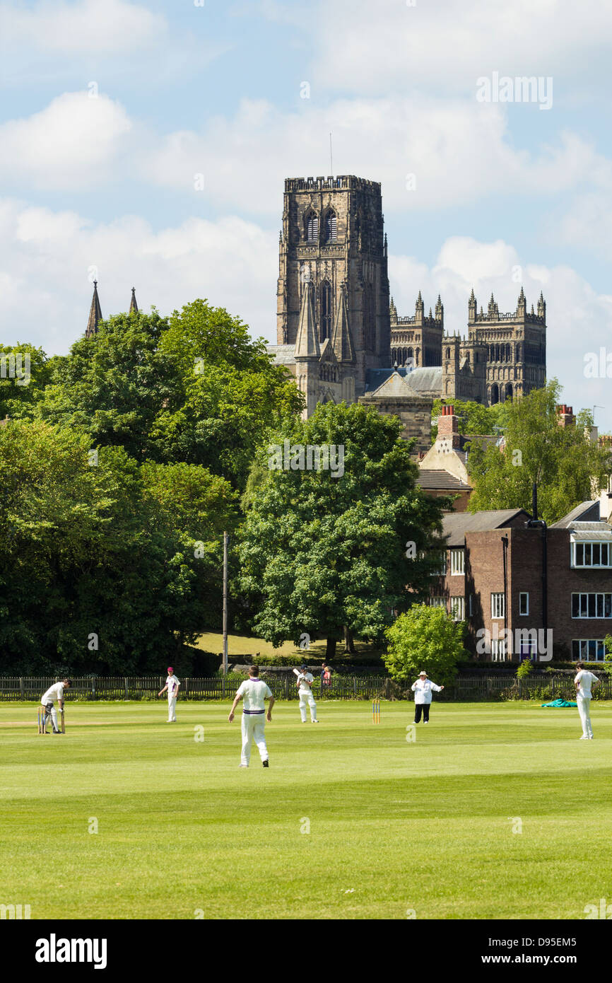 Cricket match at The Racecourse in Durham with Durham cathedral in background. Durham, England, UK - Stock Image