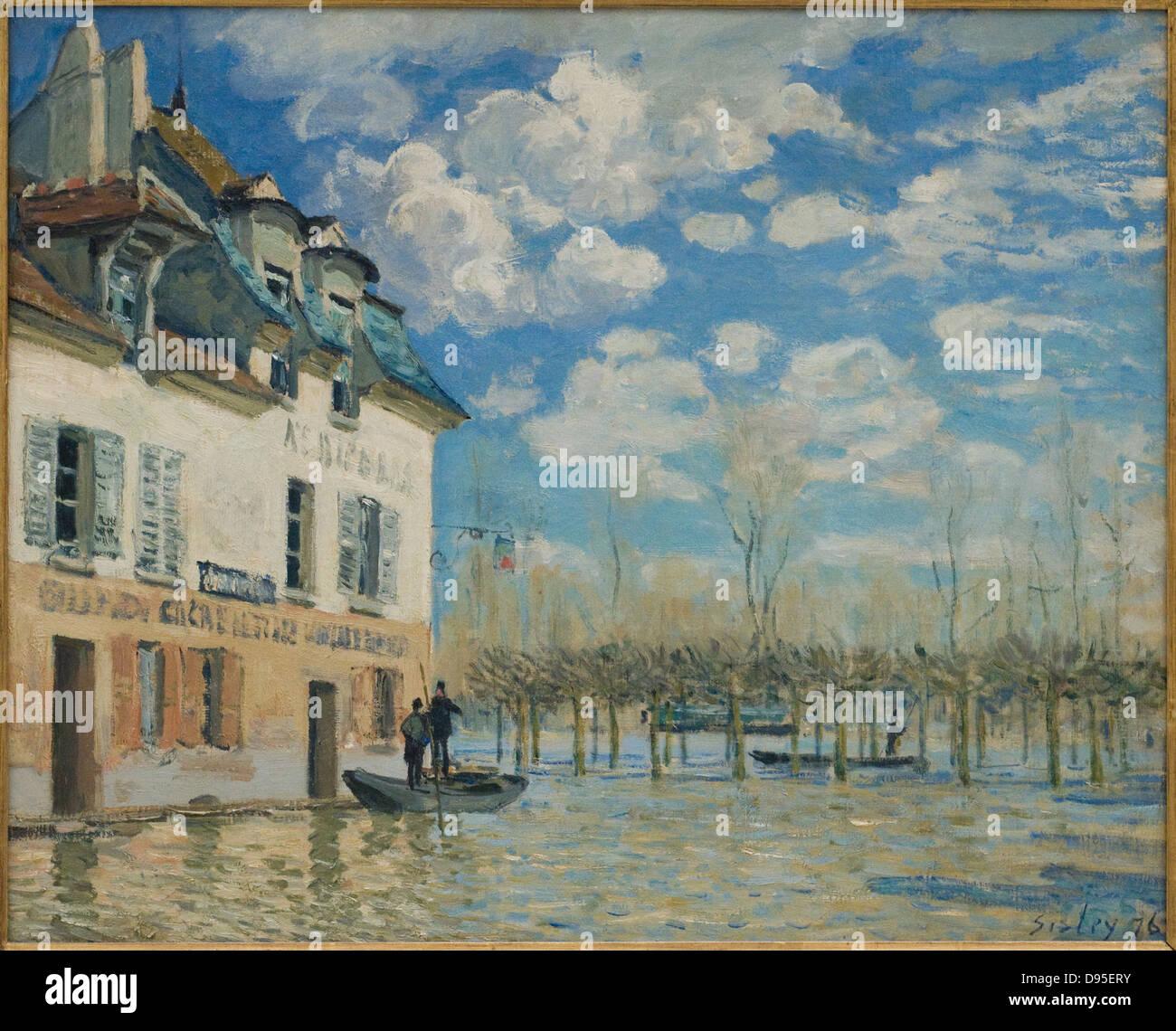 Alfred Sisley La barque pendant l'inondation, Port-Marly 1876 XIX th century Orsay Museum - Paris - Stock Image
