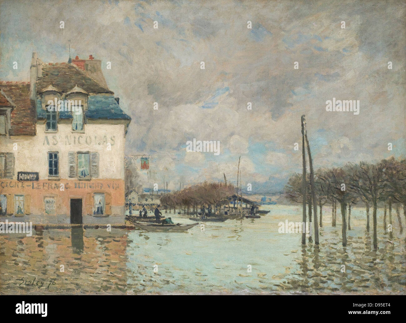 Alfred Sisley L'inondation à Port-Marly - Flood at Port Marly 1876 XIX th century French school Orsay Museum - Stock Image