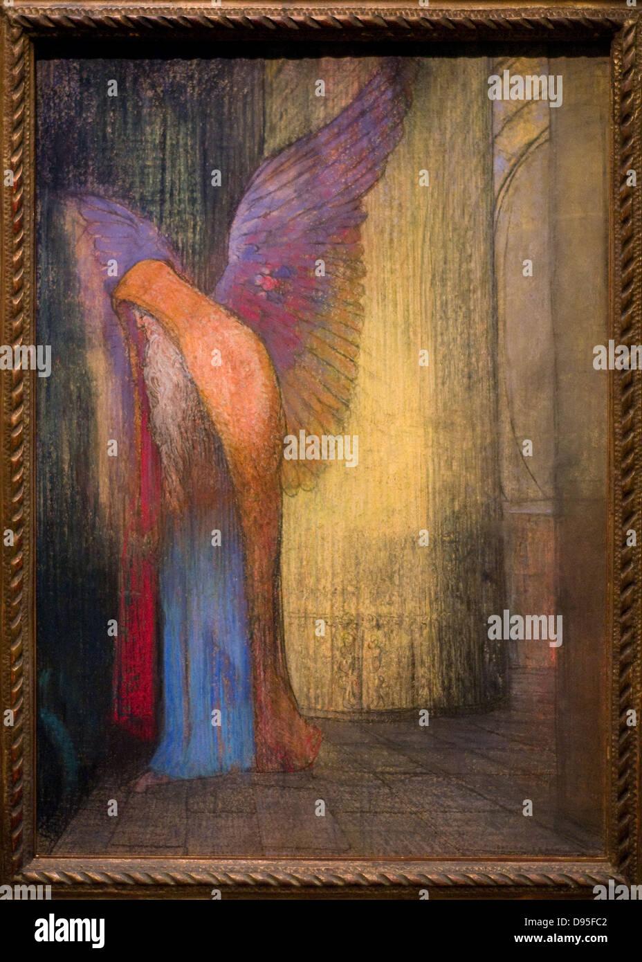Odilon redon Vieillard ailé - Old winged 1895 XIX th Century French school Orsay Museum -Paris Pastel - Stock Image