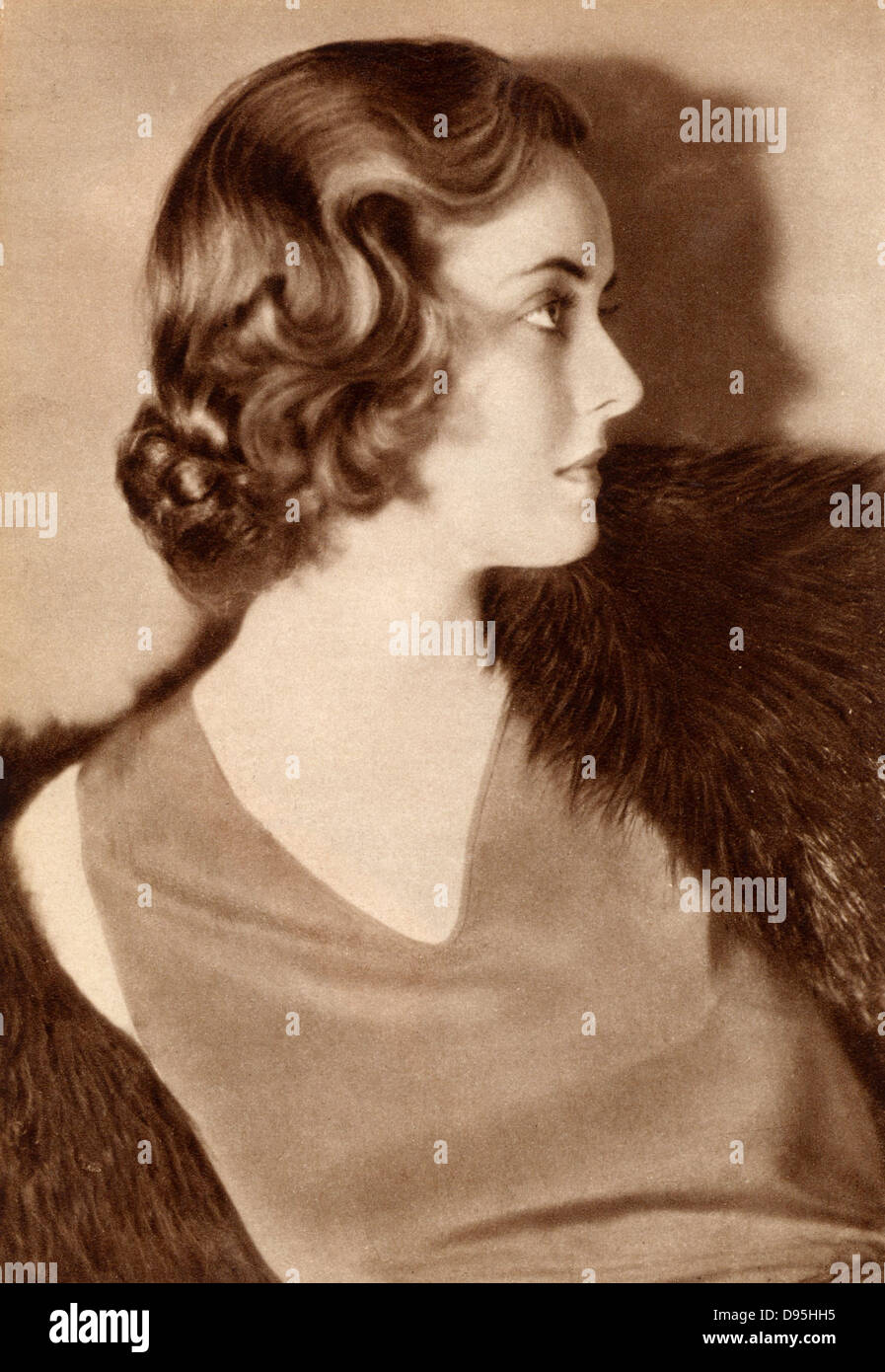 Bette Davis (1908-1989)  American Hollywood actress and film star, as a  young woman. Photograph. Halftone. - Stock Image