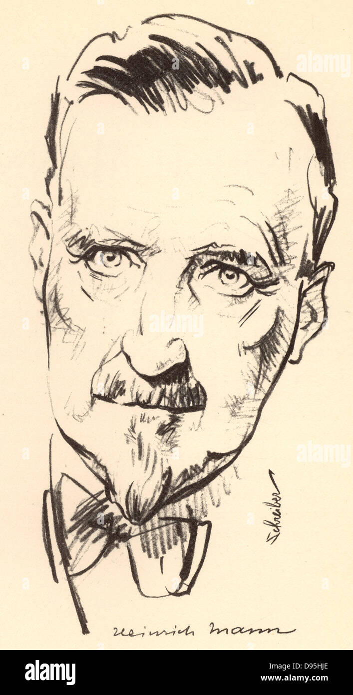 Heinrich Mann (1871-1950) German novelist. Elder brother of the novelist Thomas Mann.  From a sketch dated 1934. - Stock Image