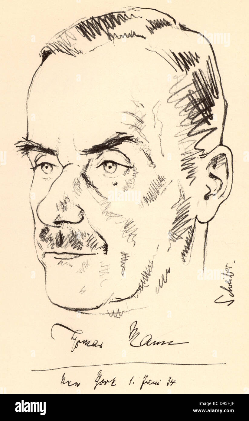 Thomas Mann  (1875-1955) German novelist and brother of Heinrich Mann. Nobel prize for Literature 1929. Sketch dated - Stock Image