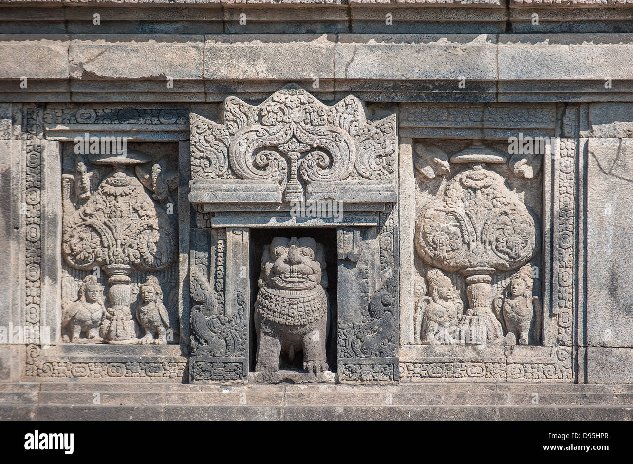 Bas-reliefs of Prambanan temple, Java, Indonesia - Stock Image